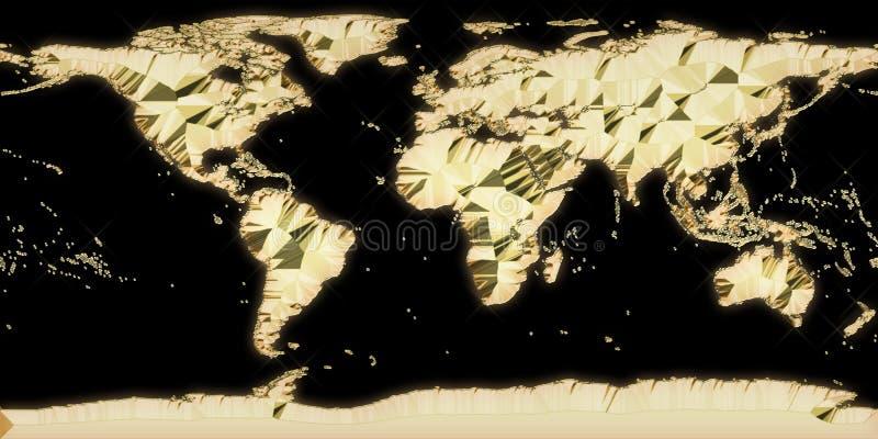 Wereld gouden kaart royalty-vrije stock afbeelding
