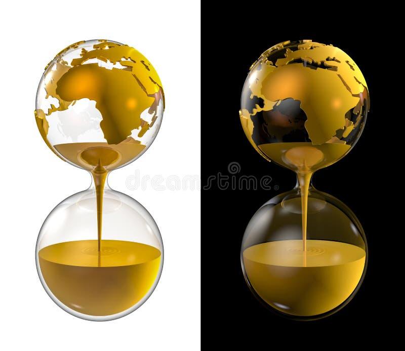 Wereld gouden zandloper vector illustratie