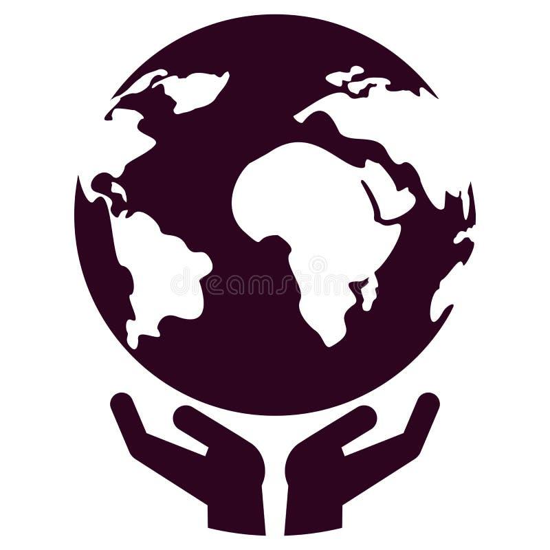 Wereld in hand pictogram vector illustratie