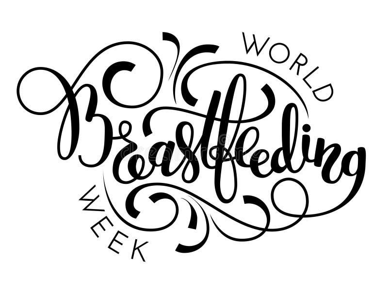 Wereld het de borst geven weekhand het van letters voorzien op witte achtergrond vector illustratie