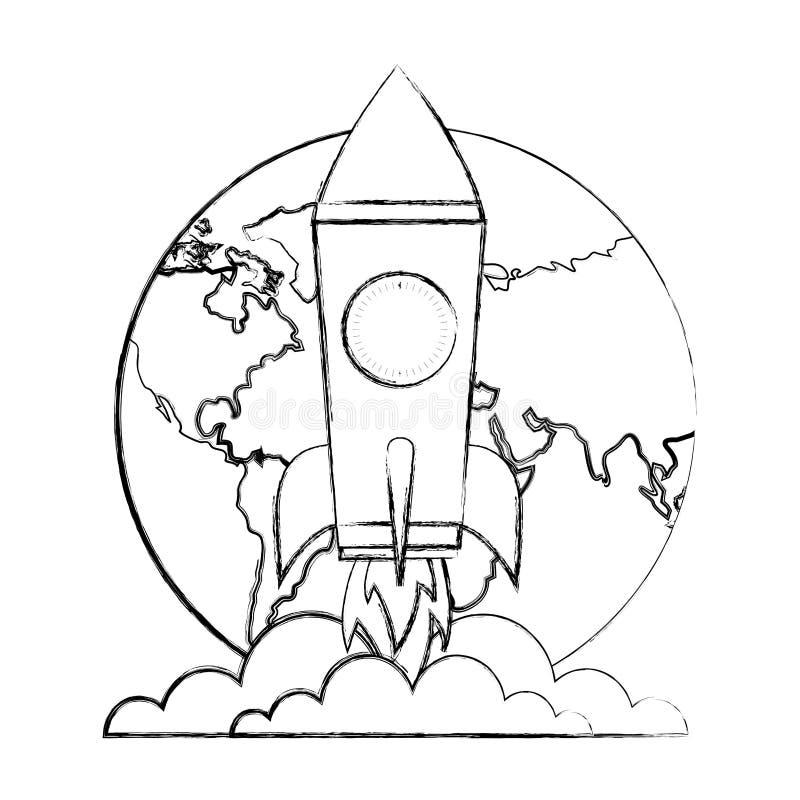 Wereld het succesvooruitgang van de lanceringsraket royalty-vrije illustratie