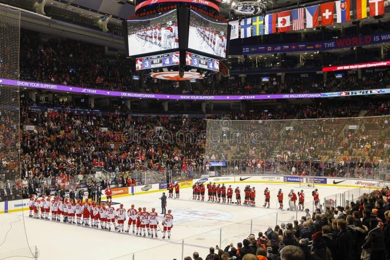 2015 Wereld Junior Hockey Championships, Air Canada-Centrum stock foto's