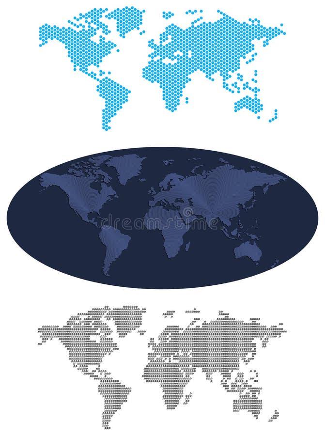 Wereld kaart-illustratie-kaarten royalty-vrije illustratie