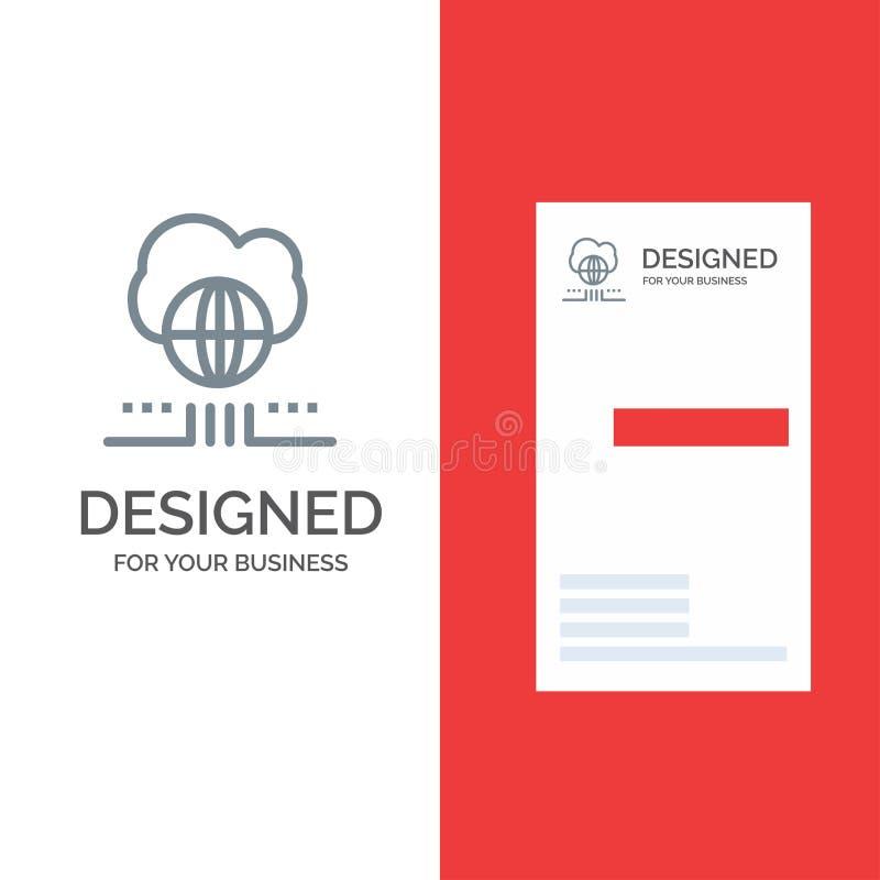 Wereld, Marketing, Netwerk, Wolk Grey Logo Design en Visitekaartjemalplaatje stock illustratie