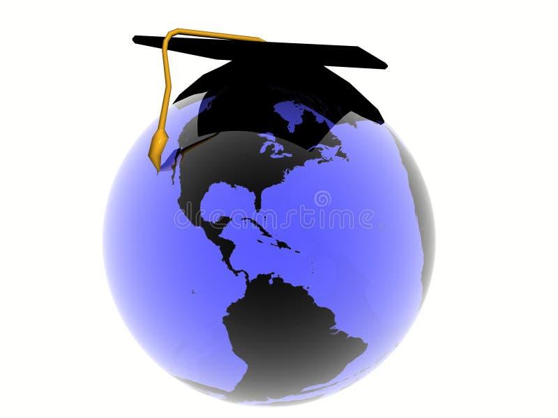 Wereld met hoed stock illustratie