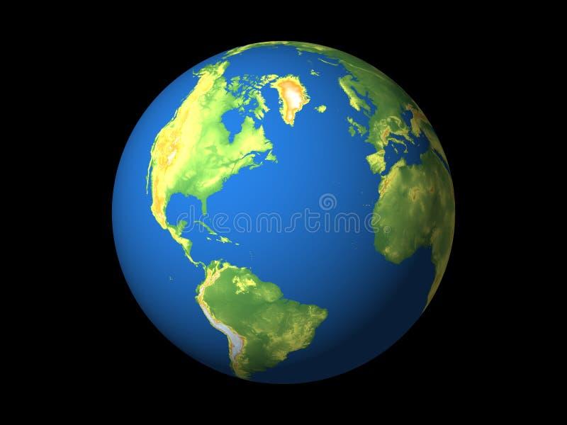 Wereld, Noord-Amerika, s-Amerika, n-Atlantische Oceaan vector illustratie