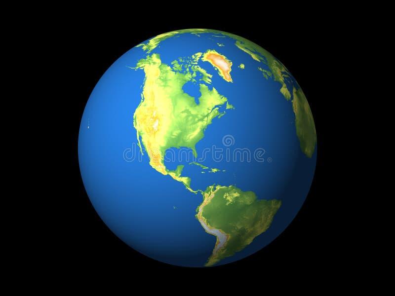 Wereld, Noord-Amerika, s-Amerika, n-Atlantische Oceaan royalty-vrije illustratie