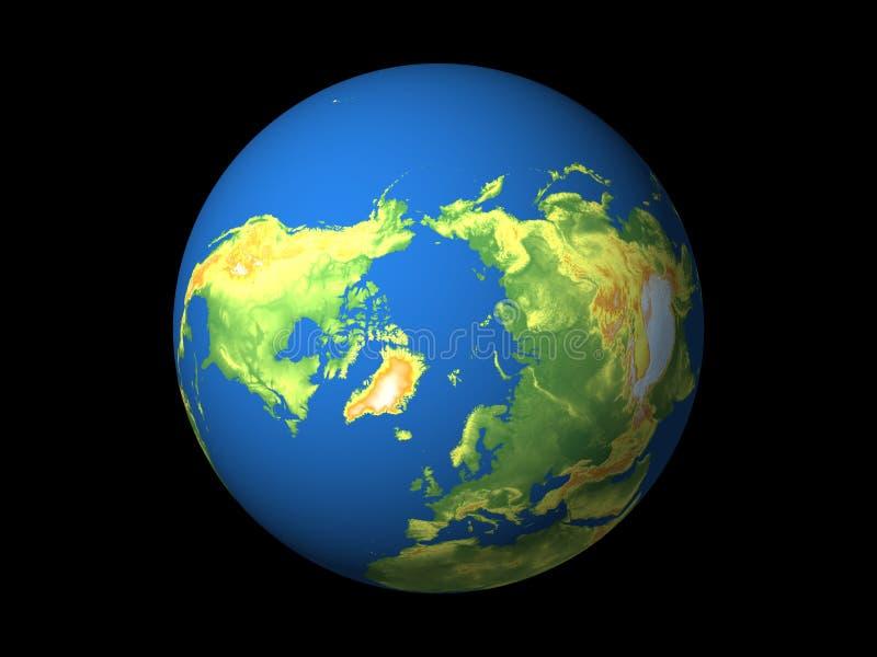 Wereld, Noordelijke Hemisfeer royalty-vrije illustratie