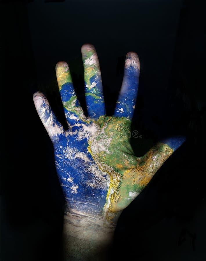 Wereld in onze hand vector illustratie