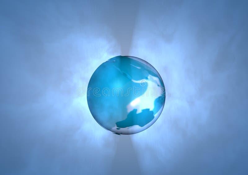 Wereld op blauwe achtergrond royalty-vrije illustratie