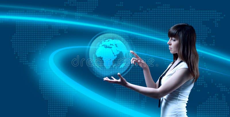 Wereld op haar palm stock illustratie