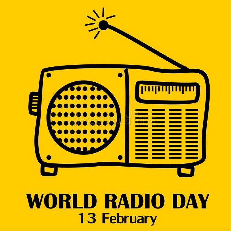 Wereld Radiodag, 13 Februari stock illustratie