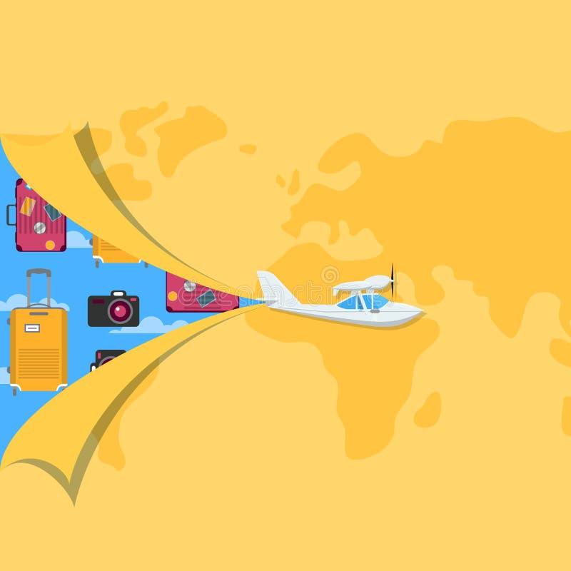 Wereld reizende affiche met propellerhydroplane vector illustratie