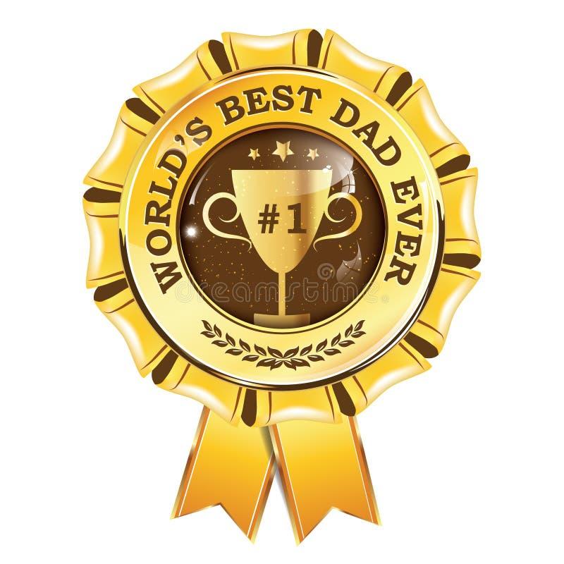 Wereld` s beste papa ooit - gouden/geel toekenningslint voor druk stock illustratie
