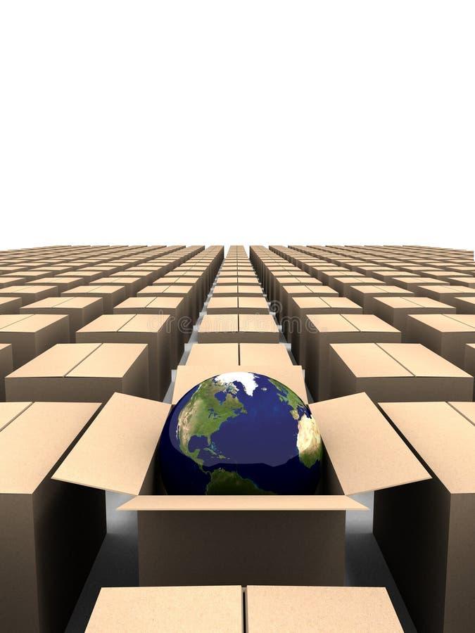 Wereld uit de doos stock illustratie