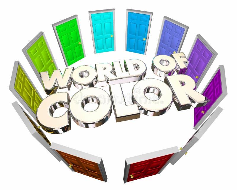 Wereld van de Deuren van de Optieskeuzen van de Kleurendiversiteit stock illustratie