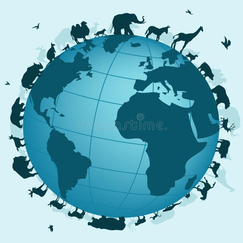 Wereld van dieren royalty-vrije illustratie
