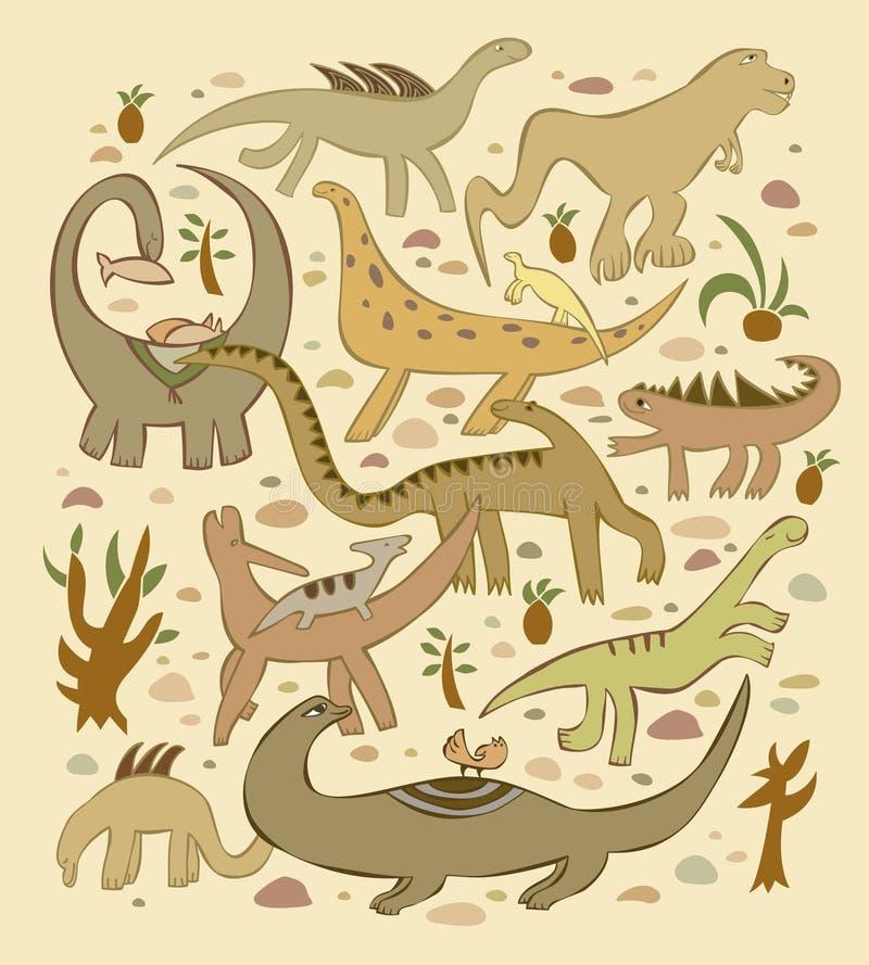 Wereld van dinosaurussen stock illustratie