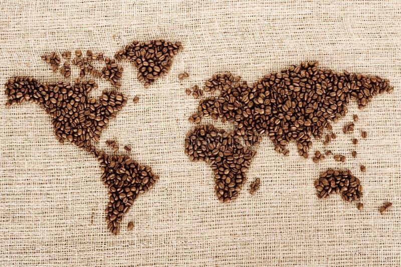 Wereld van koffie stock afbeeldingen