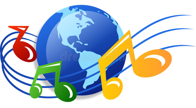Wereld van muziek royalty-vrije illustratie