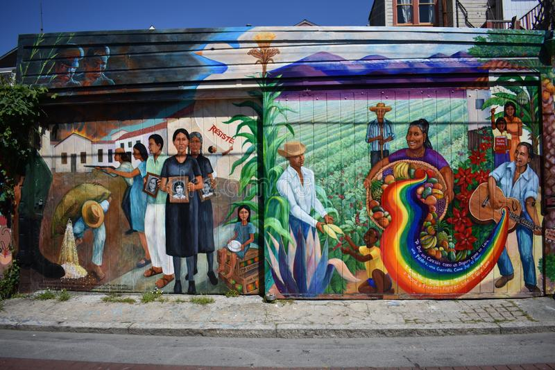 Wereld van San Francisco ` s erkende Zachte Steegmuurschilderingen, 29 stock afbeelding
