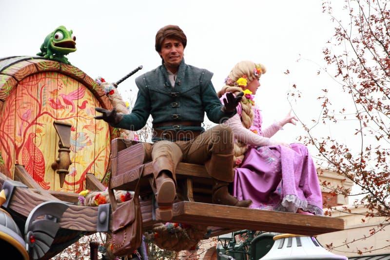 Wereld van Shanghai Disney festooned voertuigcruise stock foto