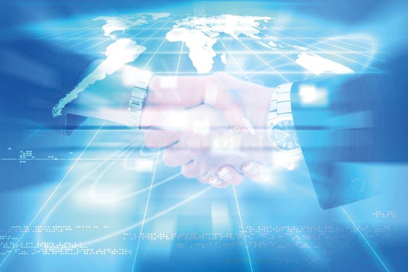 Wereld van verbindingentechnologie en mededeling, bedrijfshand stock afbeeldingen