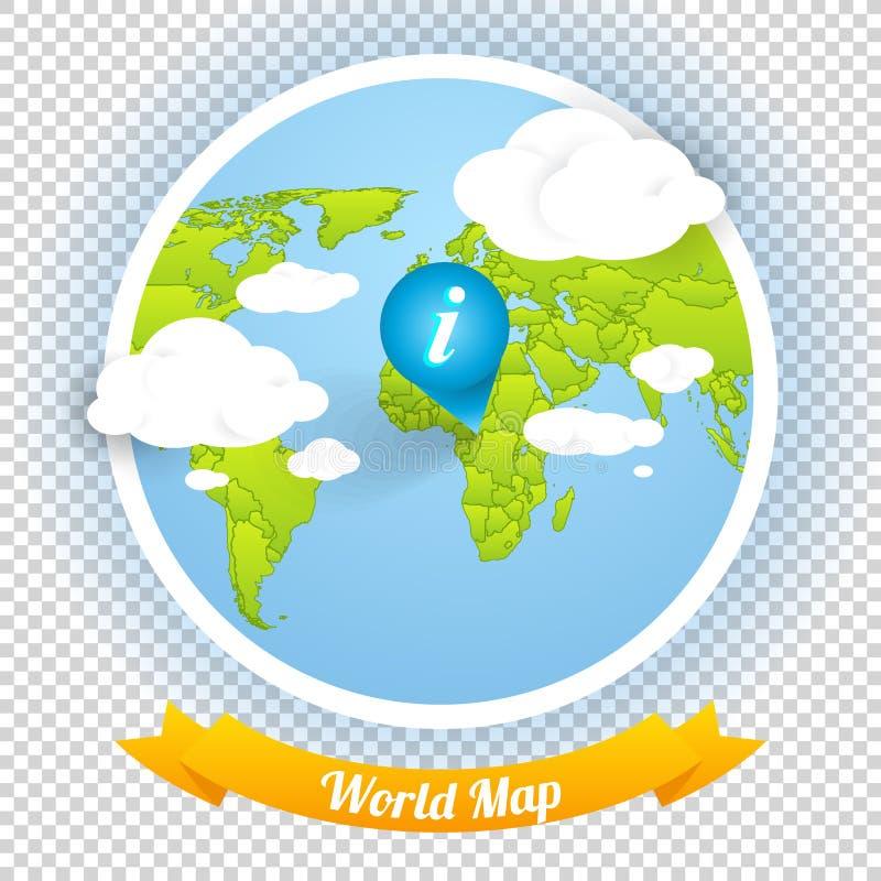 Wereld Vectorkaart met Tekens en Webelementen Templ vector illustratie