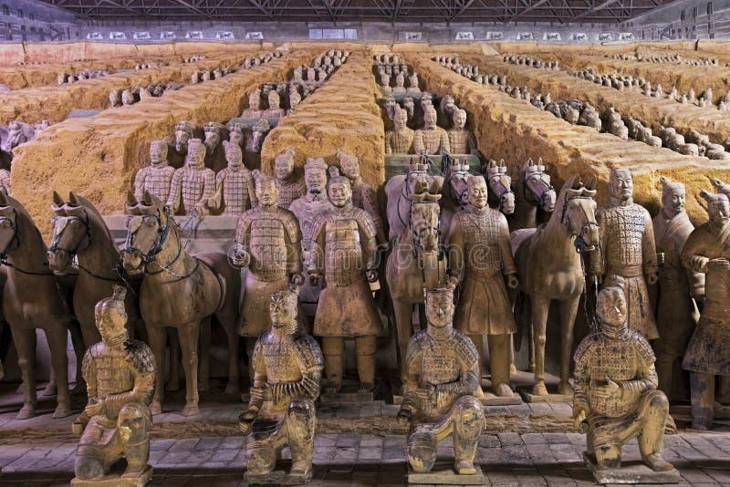 Wereldberoemd die Terracottaleger in Xian China wordt gevestigd stock afbeelding