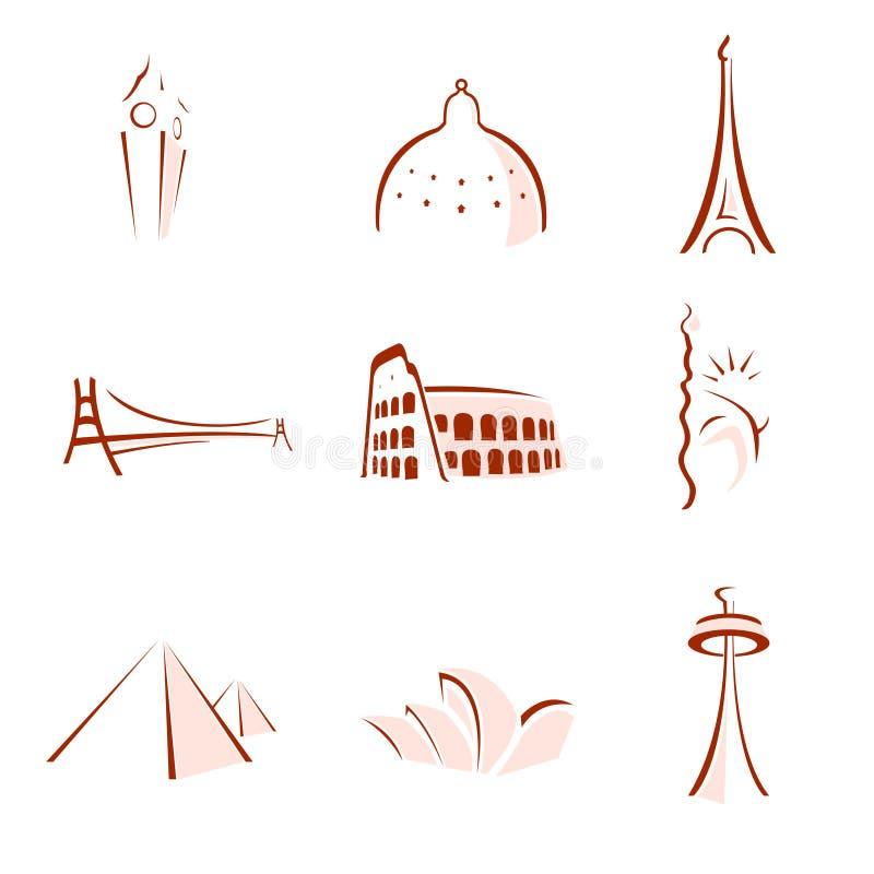 Wereldberoemde gestileerde monumenten royalty-vrije illustratie