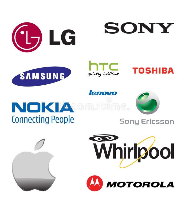 Wereldberoemde mobiele telefoonmerken royalty-vrije illustratie