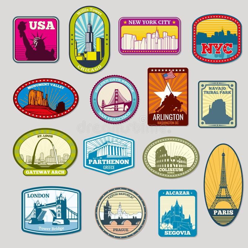 Wereldberoemde monumenten en oriëntatiepunten vectoretiketten, emblemen stock illustratie