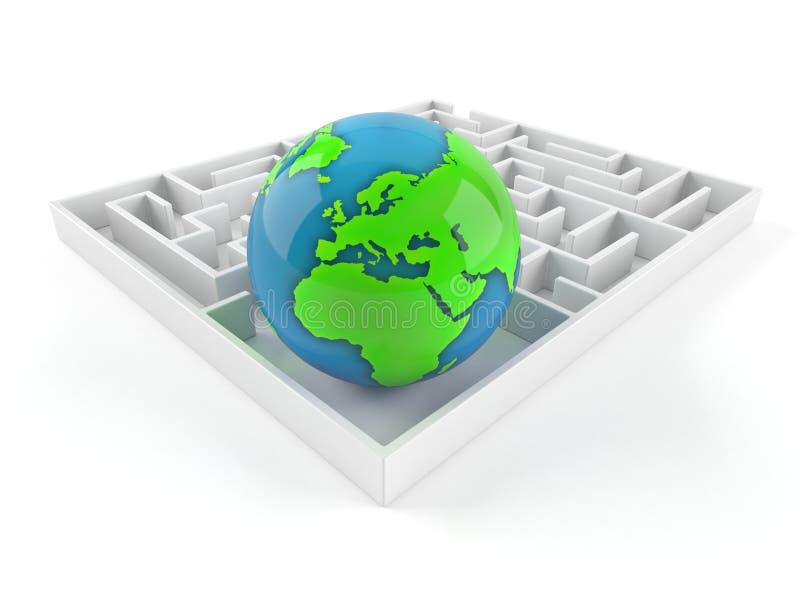 Wereldbol binnen labyrint vector illustratie