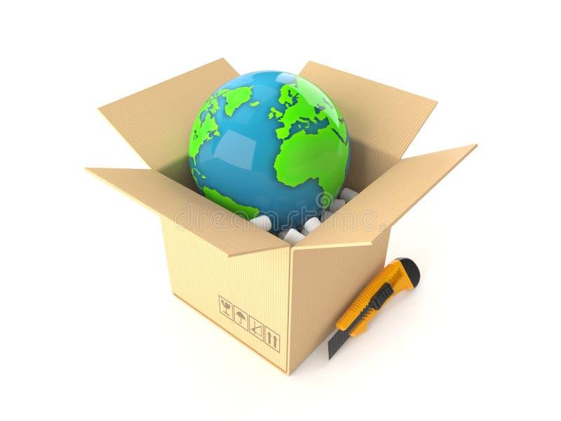 Wereldbol binnen pakket vector illustratie