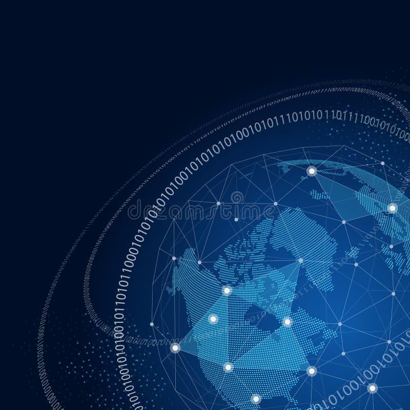 Wereldbol met concept van netwerk het globale verbindingen vector illustratie