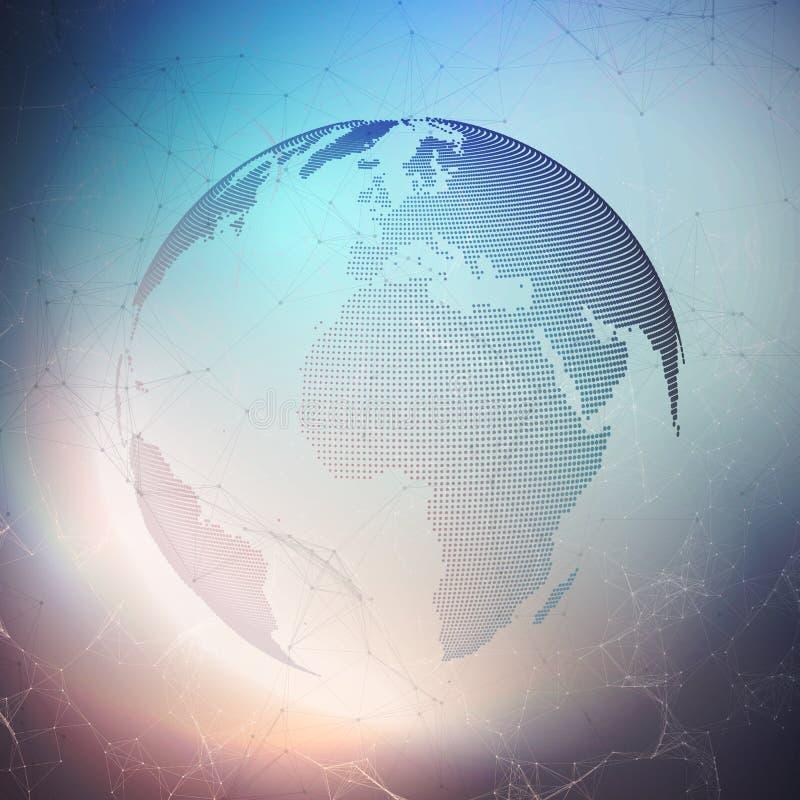 Wereldbol op donkere achtergrond De globale netwerkverbindingen, vatten geometrisch ontwerp, technologie digitaal concept samen royalty-vrije illustratie