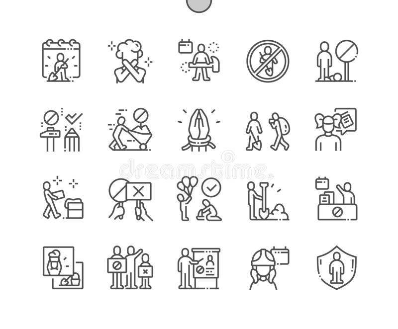 Werelddag tegen Kinderarbeid goed-Bewerkte Pictogrammen 30 van de Pixel Perfecte Vector Dunne Lijn 2x-Net voor Webgrafiek en Apps vector illustratie