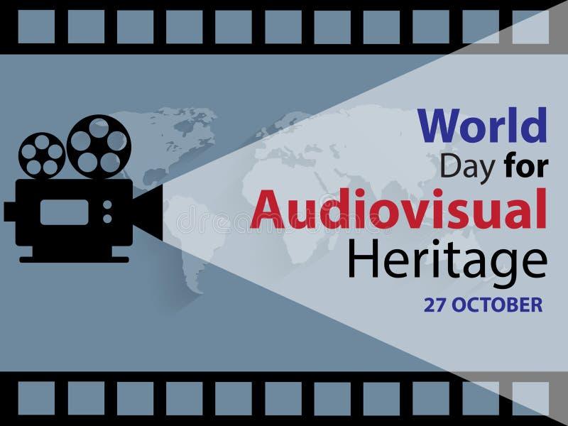 Werelddag voor Audiovisueel erfgoedachtergrond royalty-vrije illustratie