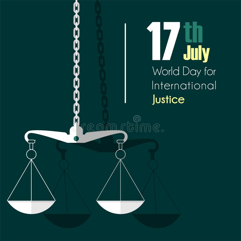 Werelddag voor Internationale Rechtvaardigheid royalty-vrije illustratie