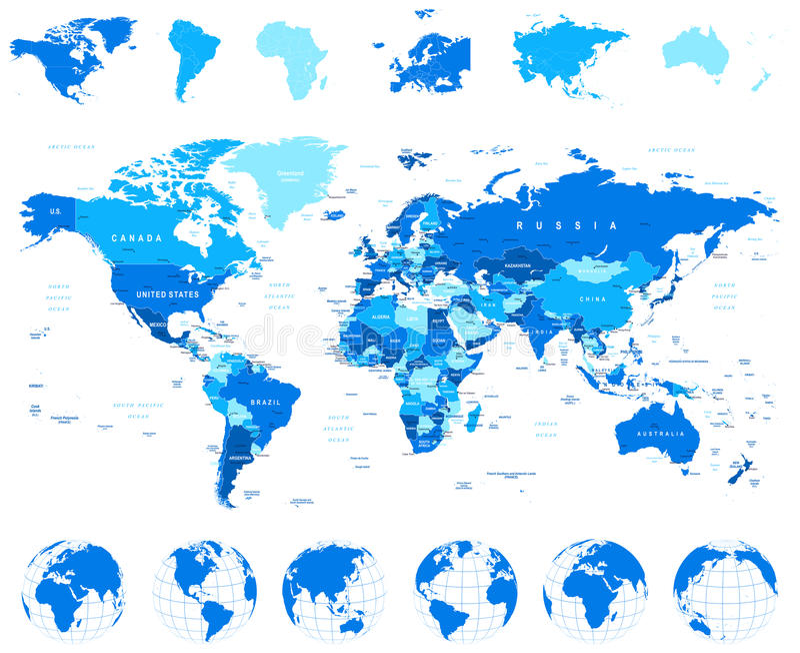 Wereldkaart, Bollen, Continenten - illustratie royalty-vrije illustratie