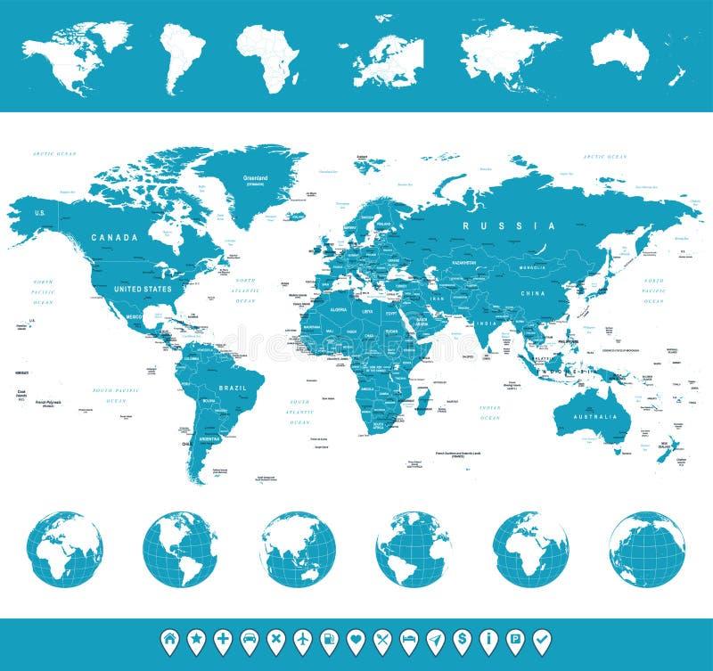 Wereldkaart, Bollen, Continenten, Navigatiepictogrammen - illustratie vector illustratie