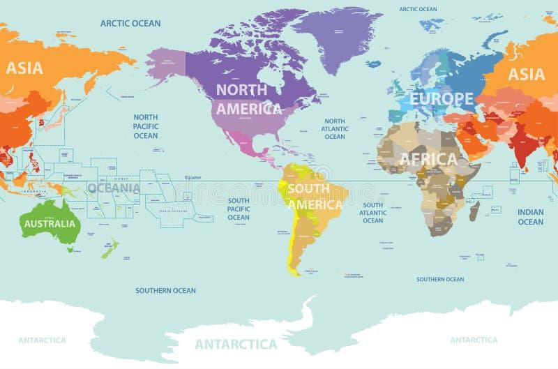 Wereldkaart die door continenten wordt gekleurd en die door Amerika wordt gecentreerd stock illustratie
