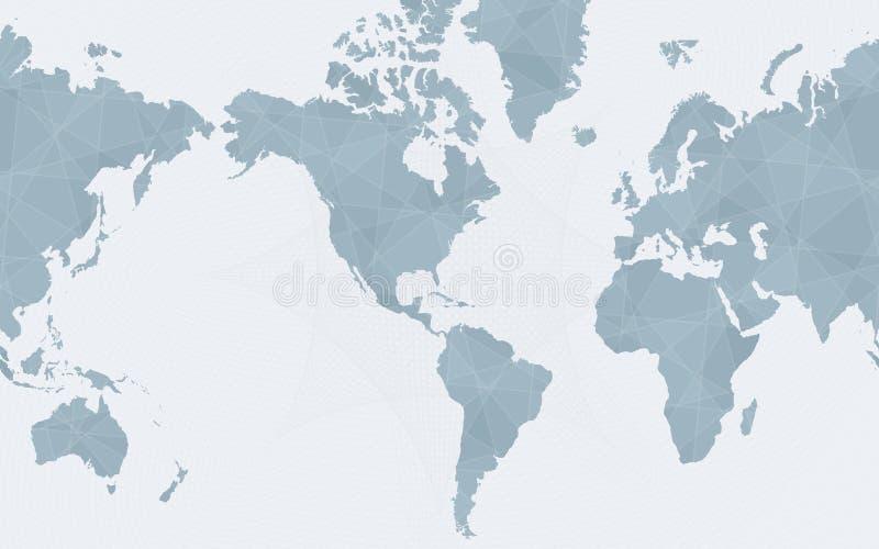 Wereldkaart die op Amerika, abstracte blauwe vectorwereldkaart wordt gecentreerd stock illustratie