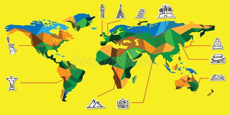Wereldkaart en aantrekkelijk oriëntatiepuntbeeldverhaal vector illustratie