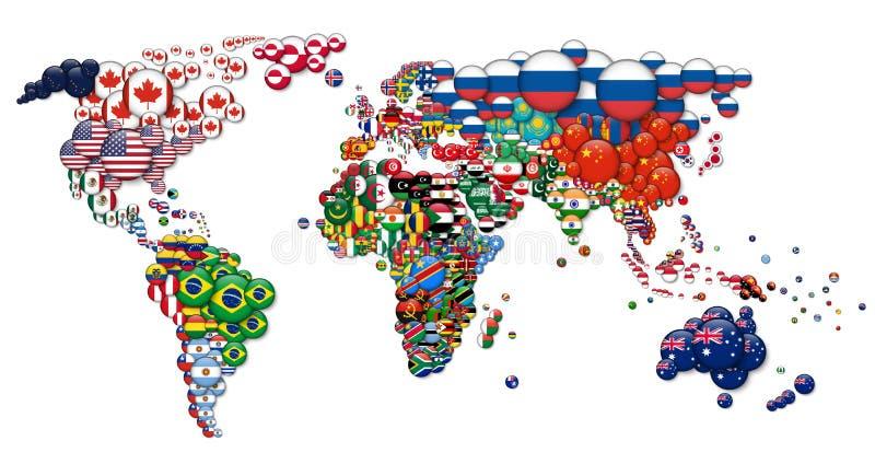 Wereldkaart en alle nationale vlaggen van het cirkelland 3D ontwerp Creatief concept Vector vector illustratie