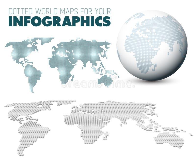 Wereldkaart en bol voor uw infographics royalty-vrije illustratie