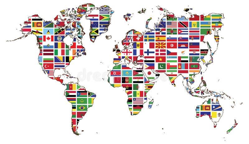 Wereldkaart en de inzameling van de Wereldvlag stock illustratie