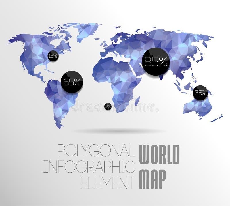 Wereldkaart en Informatiegrafiek royalty-vrije illustratie