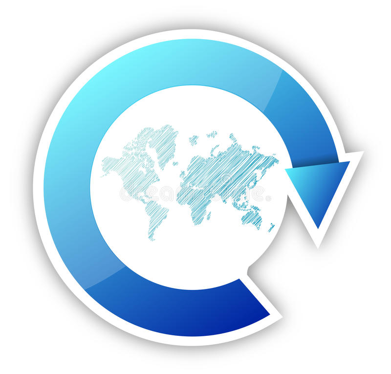 Wereldkaart en pijlencyclus stock illustratie