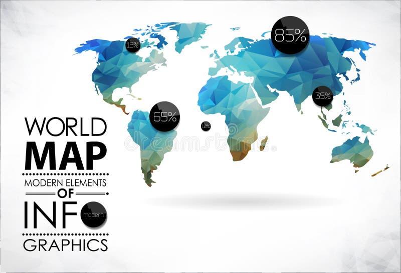 Wereldkaart en typografie royalty-vrije illustratie